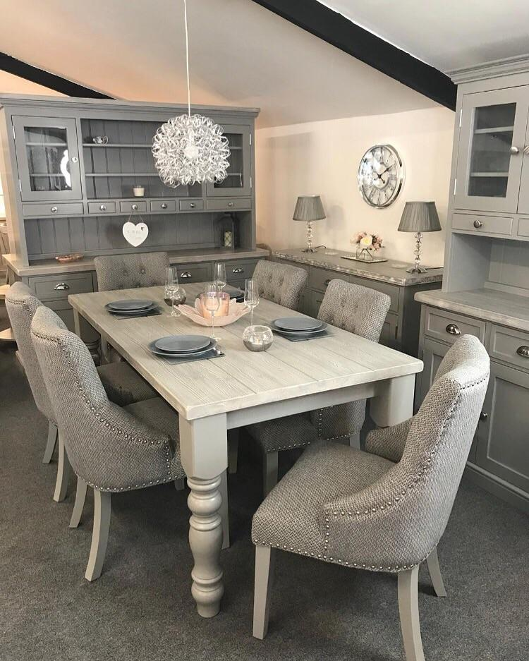 6ft distressed grey table with 6 grey fabric chairs